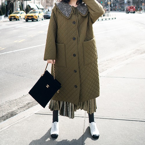 BROOKLYN : Tweed Collar Quilted Coat