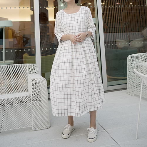 [LINEN 008] Gathered Dress : GRID